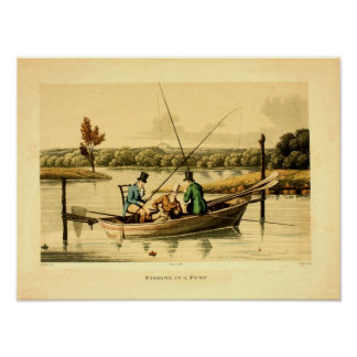 1820 antique color engraving, fishing in a punt poster