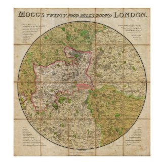 1820 Mogg Pocket or Case Map of London England Poster