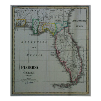 1823 Florida Map Canvas Print
