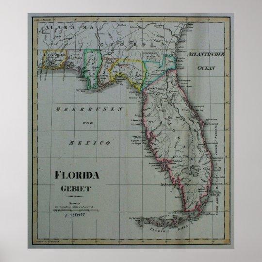 1823 Florida Map Poster