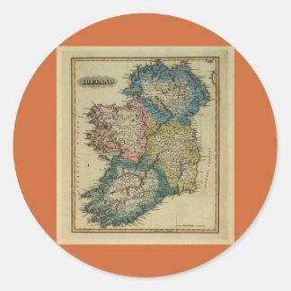 1823 Ireland map by Lucas Fielding Jr Classic Round Sticker