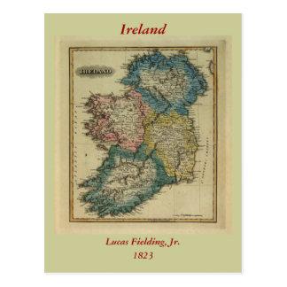 1823 Ireland map by Lucas Fielding Jr Postcard