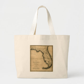 1823 Map of Florida Canvas Bags