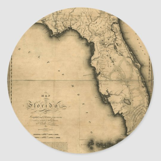 1823 Map of Florida Classic Round Sticker