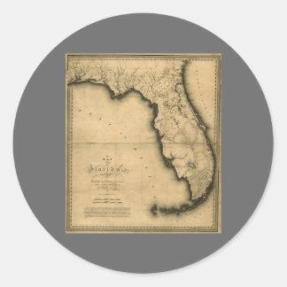 1823 Map of Florida Round Sticker
