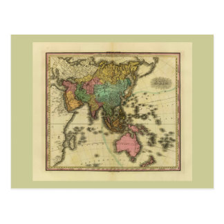 1825 Map of Asia by Henry Tanner Postcard