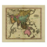 1825 Map of Asia by Henry Tanner Posters