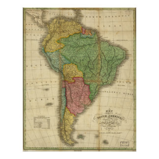 1826 Map of South America Poster