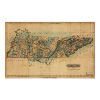 1826 Map of Tennessee Poster