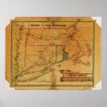 1827 Map Connecticut Massachusetts Rhode Island Posters