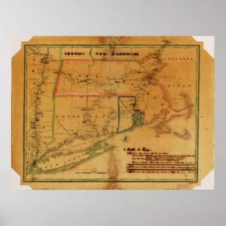 1827 Map Connecticut Massachusetts Rhode Island Poster