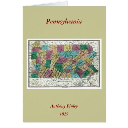 1829 Pennsylvania Map Greeting Card