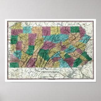 1829 Pennsylvania Map Poster