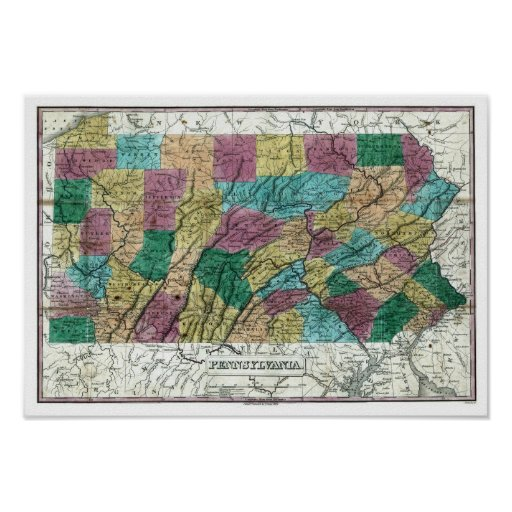 1829 Pennsylvania Map Print
