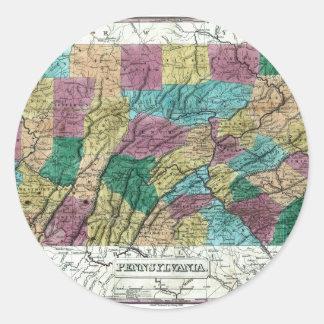 1829 Pennsylvania Map Classic Round Sticker