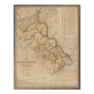 1831 Map of Bucks County Pennsylvania Poster