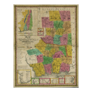 1833 Map of New London & Windham Counties, CT Poster