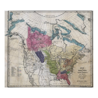 1836 Indian Tribes of North America Map Poster