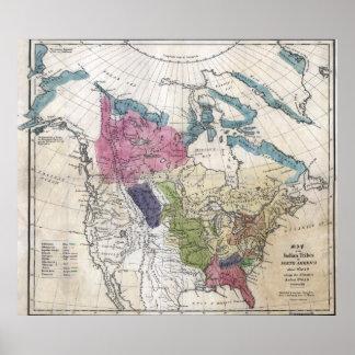 1836 tribus indias de mapa de Norteamérica Póster