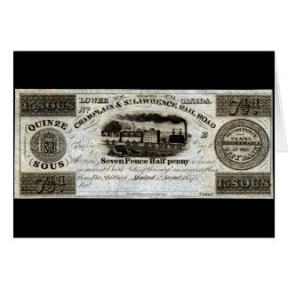 1837 Canadian Railroad Currency Greeting Card