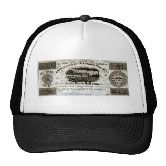 1837 Canadian Railroad Currency Hat