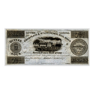 1837 Canadian Railroad Currency Print