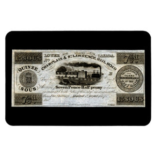 1837 Canadian Railroad Currency Rectangular Magnet