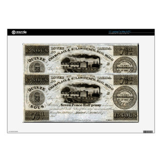 """1837 Canadian Railroad Currency Decal For 15"""" Laptop"""