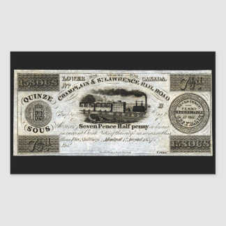 1837 Canadian Railroad Currency Rectangular Stickers