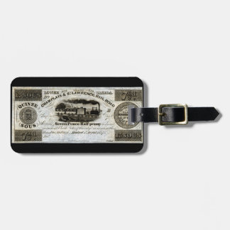 1837 Canadian Railroad Currency Tag For Luggage