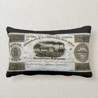 1837 Canadian Railroad Currency Throw Pillows