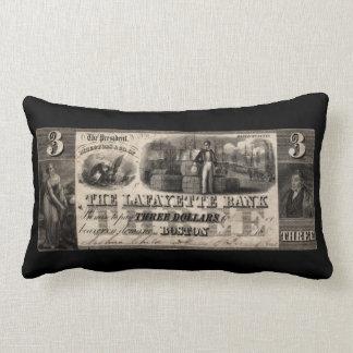 1837 Lafayette Bank Three Dollar Note Lumbar Pillow