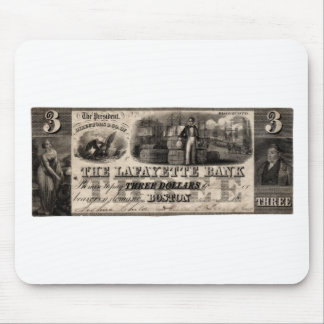 1837 Lafayette Bank Three Dollar Note Mouse Pad