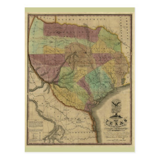 1837 Map of Texas, with Parts of the Adjoining Sta Postcard