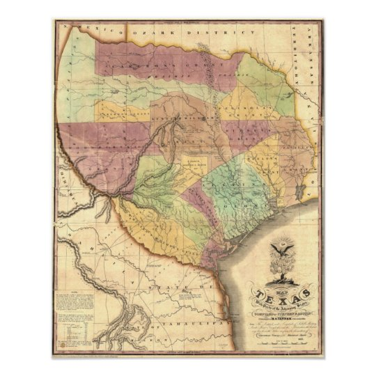 1837 Map Of The Republic Of Texas Poster Zazzle Com