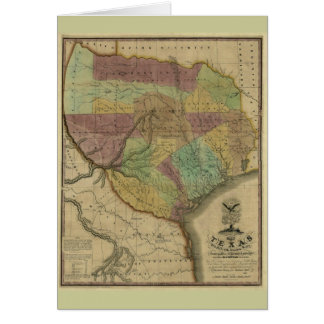 1837 Texas Map with Parts of the Adjoining States Cards