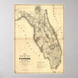 1839 Florida Map Poster