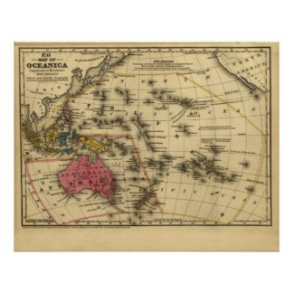 1839 Map Oceanica Austrailia New Zealand Oceania Posters