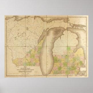 1839 Map of Michigan print