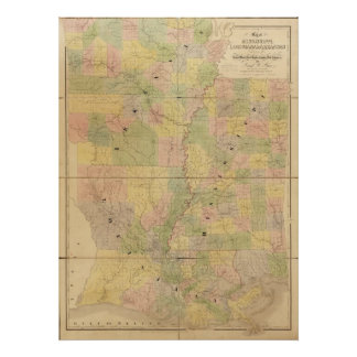 1839 Map of Mississippi Louisiana Arkansas Posters