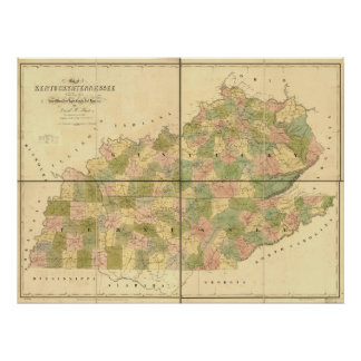 1839 Map of Tennessee & Kentucky Rails and Roads Poster