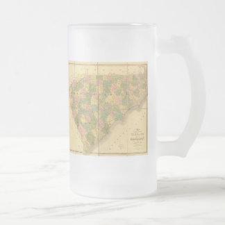 1839 North Carolina and South Carolina Map Frosted Glass Beer Mug