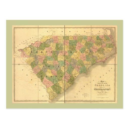 1839 North Carolina and South Carolina Map Postcard