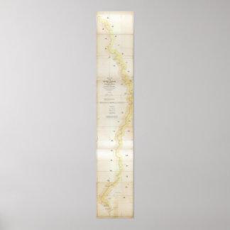 1840 Map of Sabine River, Texas - Louisiana Poster
