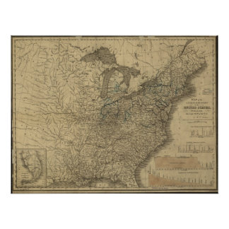 1840 Map of the Canals Railroads of the USA Posters