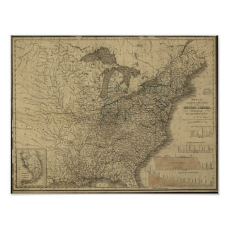 1840 Map of the Canals & Railroads of the USA Poster