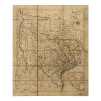 1841 Map of the Republic of Texas Poster
