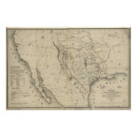 1844 Map of Republic of Texas & Countries Adjacent Poster