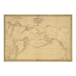 1844 Map of Russia & Alaska in Russian Poster