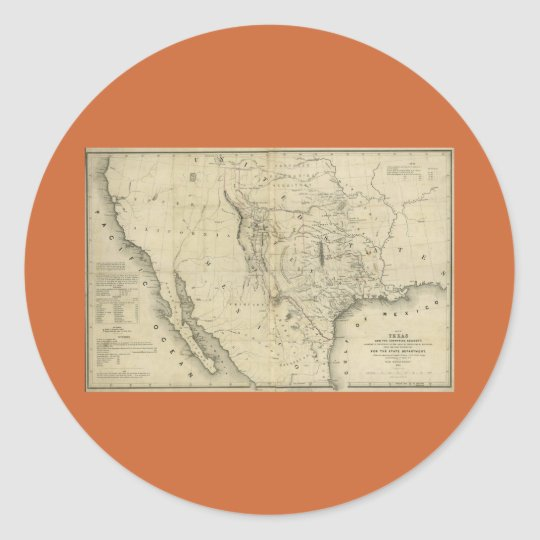 1844  Map of Texas and the Countries Adjacent Classic Round Sticker